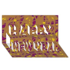 Brown and purple Happy New Year 3D Greeting Card (8x4)