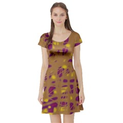 Brown and purple Short Sleeve Skater Dress