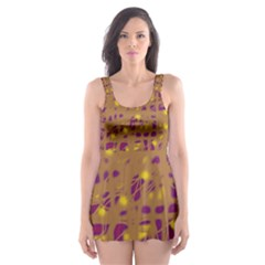 Brown and purple Skater Dress Swimsuit