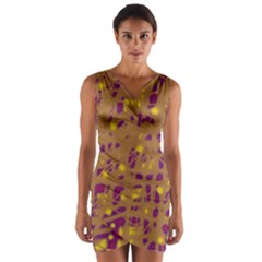Brown And Purple Wrap Front Bodycon Dress