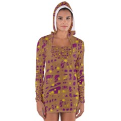Brown and purple Women s Long Sleeve Hooded T-shirt