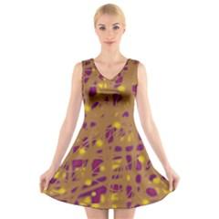 Brown and purple V-Neck Sleeveless Skater Dress