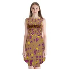 Brown and purple Sleeveless Chiffon Dress