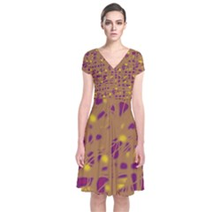 Brown and purple Short Sleeve Front Wrap Dress
