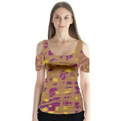 Brown and purple Butterfly Sleeve Cutout Tee