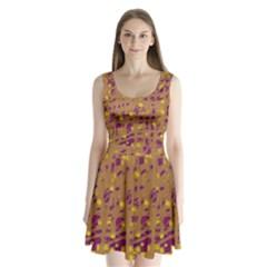 Brown and purple Split Back Mini Dress