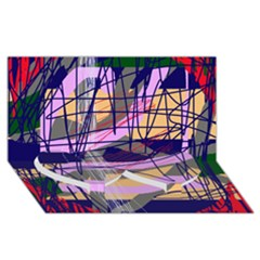Abstract high art by Moma Twin Heart Bottom 3D Greeting Card (8x4)