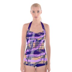 Abstract high art by Moma Boyleg Halter Swimsuit
