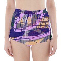 Abstract high art by Moma High-Waisted Bikini Bottoms
