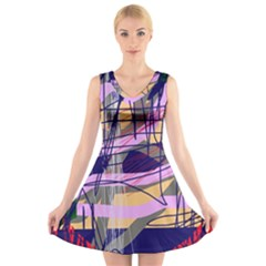 Abstract high art by Moma V-Neck Sleeveless Skater Dress