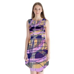 Abstract high art by Moma Sleeveless Chiffon Dress