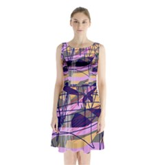 Abstract high art by Moma Sleeveless Chiffon Waist Tie Dress