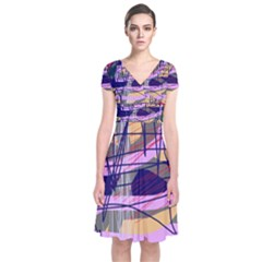Abstract high art by Moma Short Sleeve Front Wrap Dress