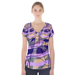Abstract high art by Moma Short Sleeve Front Detail Top
