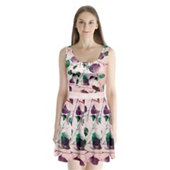 Spiral Eucalyptus Leaves Split Back Mini Dress