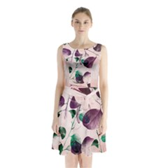 Spiral Eucalyptus Leaves Sleeveless Chiffon Waist Tie Dress
