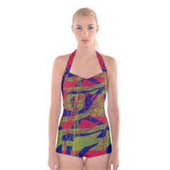 High art by Moma Boyleg Halter Swimsuit