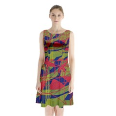 High Art By Moma Sleeveless Chiffon Waist Tie Dress