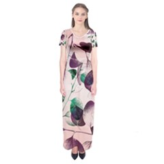 Spiral Eucalyptus Leaves Short Sleeve Maxi Dress