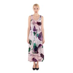 Spiral Eucalyptus Leaves Sleeveless Maxi Dress