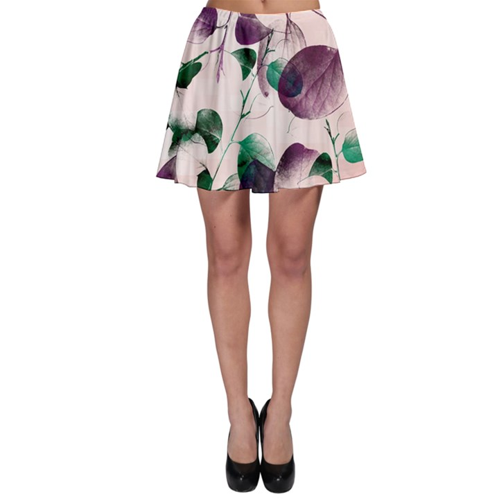Spiral Eucalyptus Leaves Skater Skirt