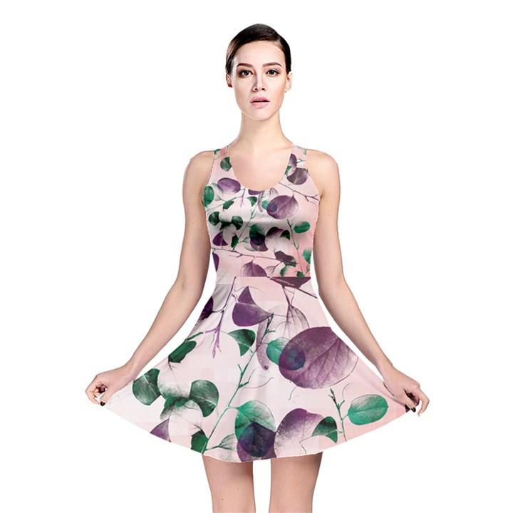 Spiral Eucalyptus Leaves Reversible Skater Dress