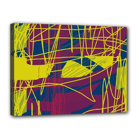 Yellow high art abstraction Canvas 16  x 12