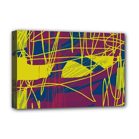 Yellow high art abstraction Deluxe Canvas 18  x 12