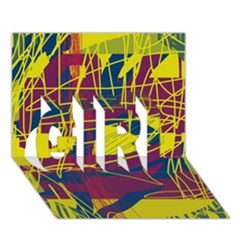 Yellow high art abstraction GIRL 3D Greeting Card (7x5)