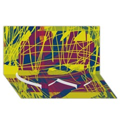 Yellow high art abstraction Twin Heart Bottom 3D Greeting Card (8x4)