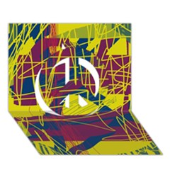 Yellow high art abstraction Peace Sign 3D Greeting Card (7x5)