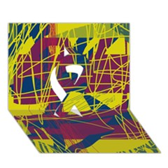 Yellow high art abstraction Ribbon 3D Greeting Card (7x5)
