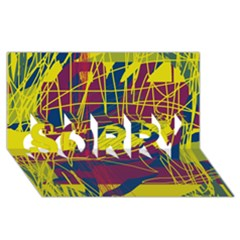 Yellow high art abstraction SORRY 3D Greeting Card (8x4)