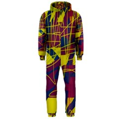 Yellow high art abstraction Hooded Jumpsuit (Men)