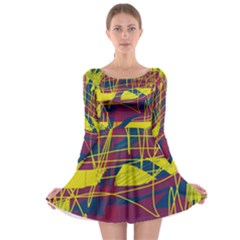 Yellow high art abstraction Long Sleeve Skater Dress