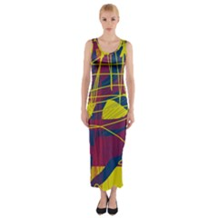 Yellow High Art Abstraction Fitted Maxi Dress