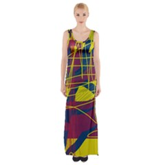 Yellow high art abstraction Maxi Thigh Split Dress