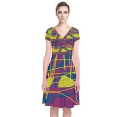 Yellow high art abstraction Short Sleeve Front Wrap Dress