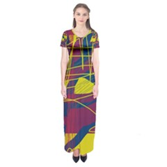 Yellow High Art Abstraction Short Sleeve Maxi Dress