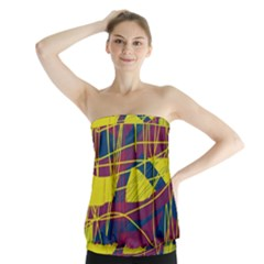 Yellow High Art Abstraction Strapless Top
