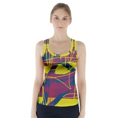 Yellow High Art Abstraction Racer Back Sports Top