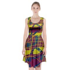 Yellow high art abstraction Racerback Midi Dress