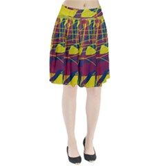 Yellow high art abstraction Pleated Skirt