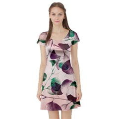 Spiral Eucalyptus Leaves Short Sleeve Skater Dress