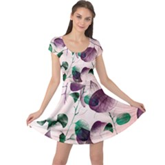 Spiral Eucalyptus Leaves Cap Sleeve Dress