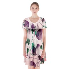 Spiral Eucalyptus Leaves Short Sleeve V-neck Flare Dress