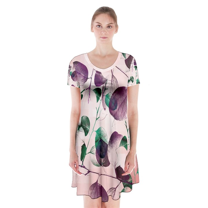Spiral Eucalyptus Leaves Short Sleeve V-neck Flare Dress