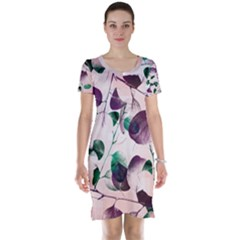 Spiral Eucalyptus Leaves Short Sleeve Nightdress