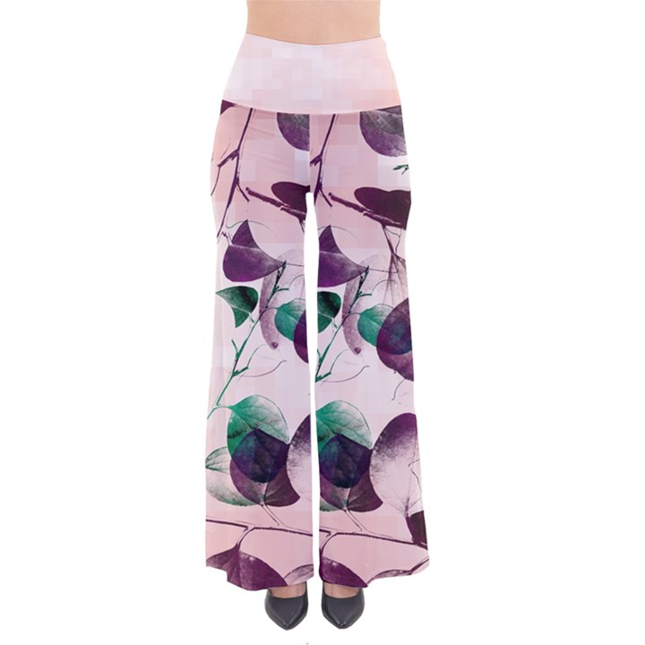 Spiral Eucalyptus Leaves Women s Chic Palazzo Pants