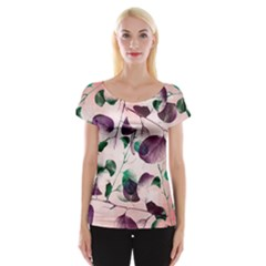 Spiral Eucalyptus Leaves Women s Cap Sleeve Top